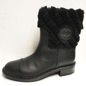 Chanel Black Quilted Shearling & Leather Boots